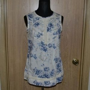 Lands End Canvas white floral sleeveless top